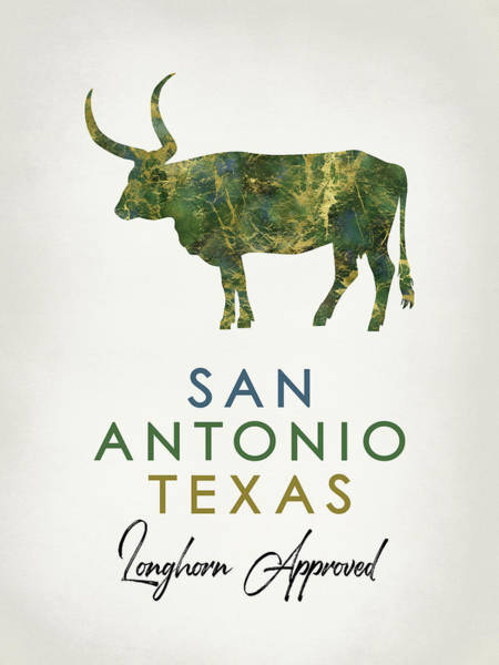 Longhorn Digital Art - San Antonio Texas Dark Marble by Flo Karp