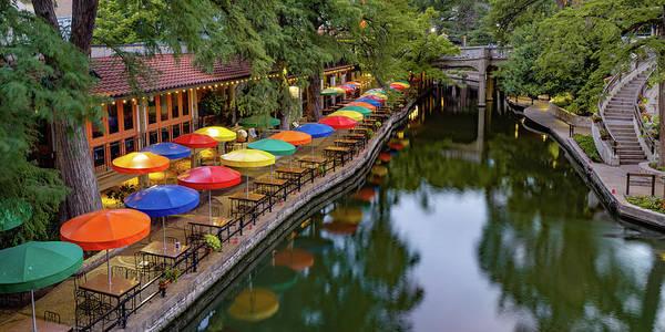 Photograph - San Antonio Texas Riverwalk Umbrellas Panorama by Gregory Ballos