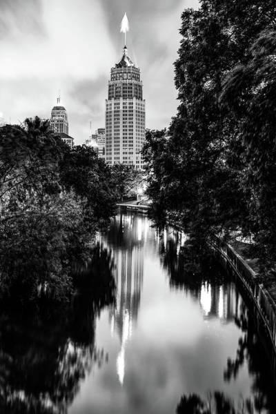 Photograph - San Antonio Texas Skyline Along The River - Monochrome by Gregory Ballos