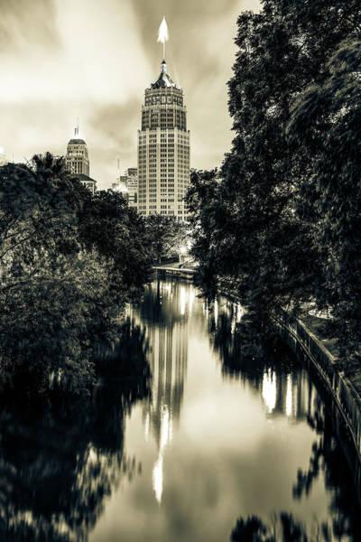 Photograph - San Antonio Texas Skyline Along The River - Sepia by Gregory Ballos