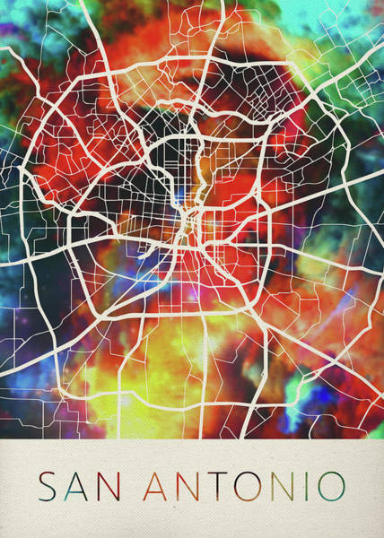 Wall Art - Mixed Media - San Antonio Texas Usa Watercolor City Street Map by Design Turnpike
