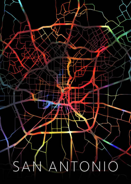 Wall Art - Mixed Media - San Antonio Texas Watercolor City Street Map Dark Mode by Design Turnpike