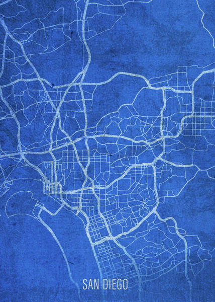 Wall Art - Mixed Media - San Diego California City Street Map Blueprints by Design Turnpike