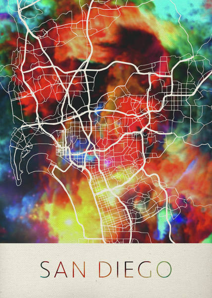 Wall Art - Mixed Media - San Diego California Usa Watercolor City Street Map by Design Turnpike