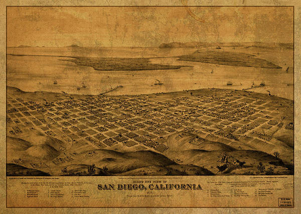 Wall Art - Mixed Media - San Diego California Vintage City Street Map 1876 by Design Turnpike