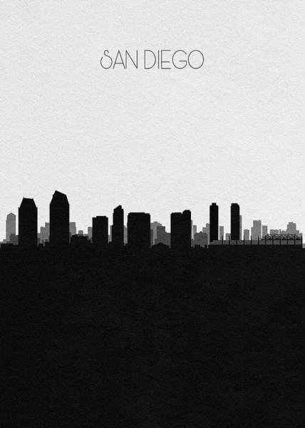 Wall Art - Drawing - San Diego Cityscape Art by Inspirowl Design