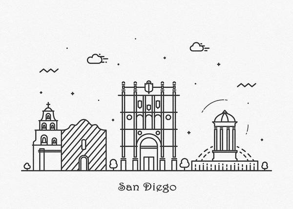 Drawing - San Diego Cityscape Travel Poster by Inspirowl Design