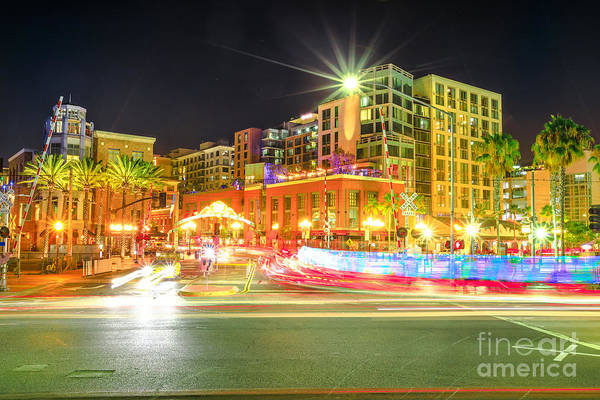 Photograph - San Diego Downtown Night by Benny Marty