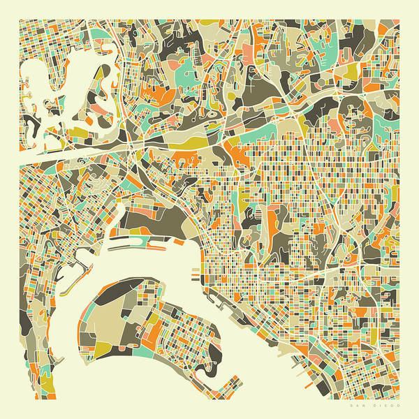 City Map Wall Art - Digital Art - San Diego Map 1 by Jazzberry Blue