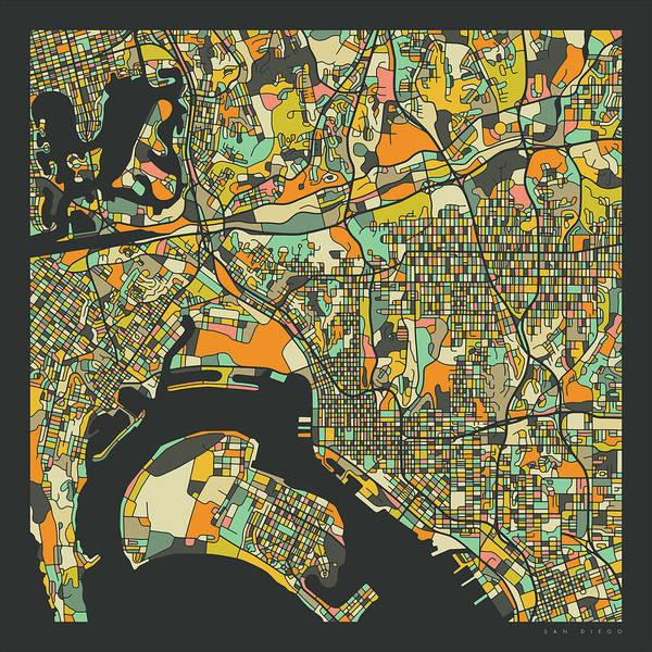 San Diego Digital Art - San Diego Map 2 by Jazzberry Blue