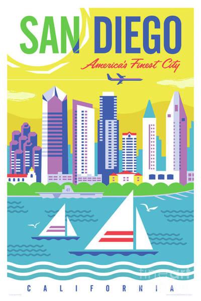Wall Art - Digital Art - San Diego Poster - Retro Travel  by Jim Zahniser