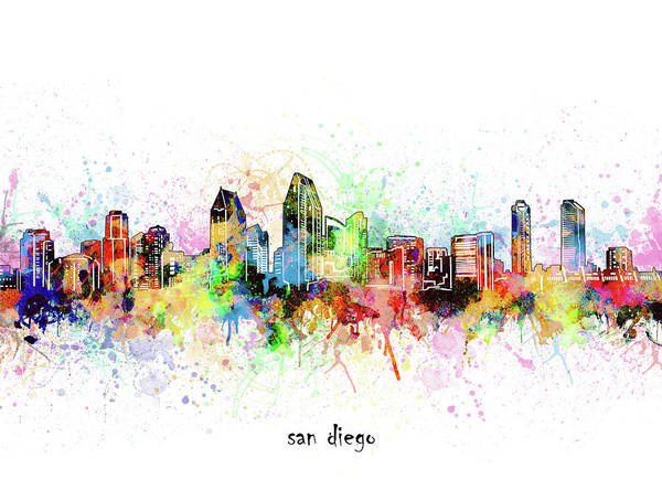 Wall Art - Digital Art - San Diego Skyline Artistic by Bekim M