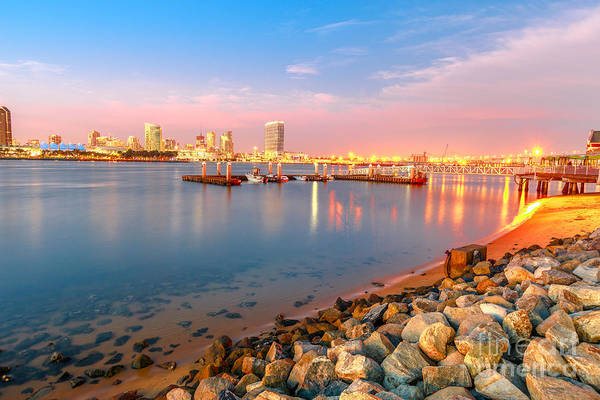 Photograph - San Diego Skyline Sunset by Benny Marty