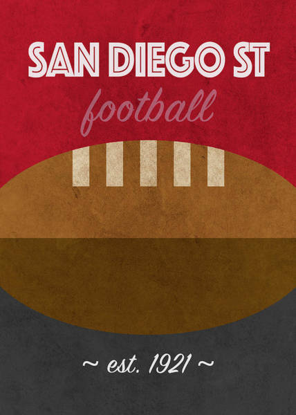 Wall Art - Mixed Media - San Diego State College Football Team Vintage Retro Poster by Design Turnpike