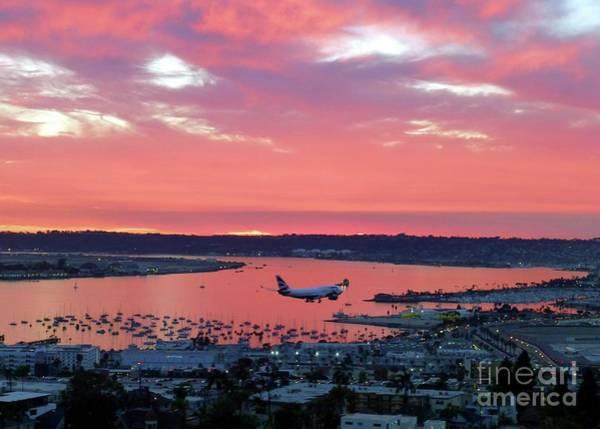 Wall Art - Photograph - San Diego Sunset Landing by Barbie Corbett-Newmin