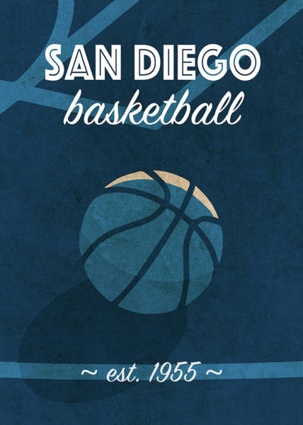 Wall Art - Mixed Media - San Diego University Retro College Basketball Team Poster by Design Turnpike
