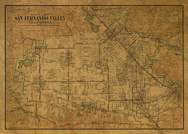 Wall Art - Mixed Media - San Fernando Valley California Vintage City Street Map 1923 by Design Turnpike