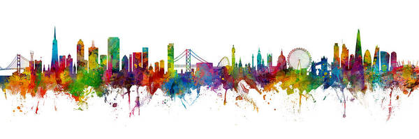 Wall Art - Digital Art - San Francisco And London Skylines Mashup by Michael Tompsett