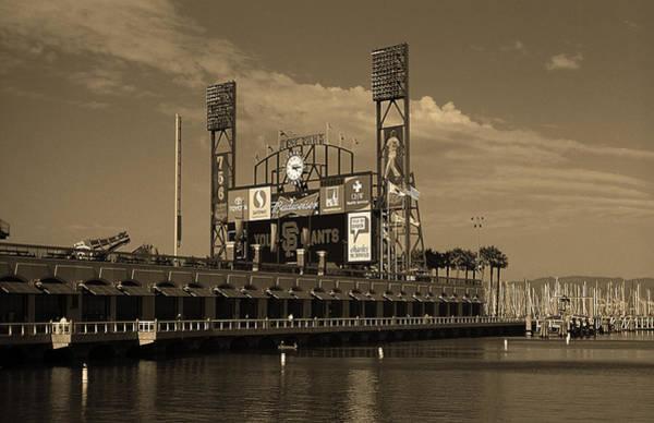 Wall Art - Photograph - San Francisco Bay And Ballpark 2007 Sepia by Frank Romeo