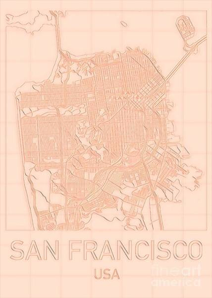 Digital Art - San Francisco Blueprint City Map Alt by Helge
