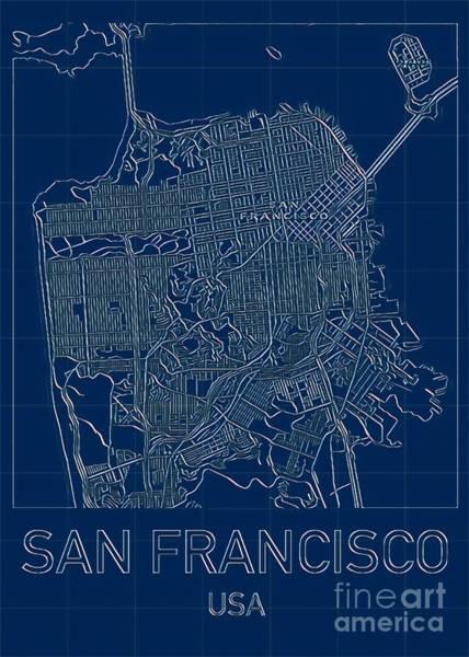 Digital Art - San Francisco Blueprint City Map by Helge