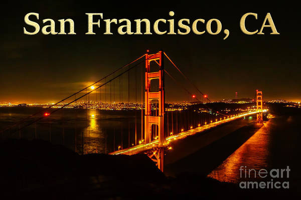 Photograph - San Francisco Ca Golden Gate Bridge At Night by G Matthew Laughton