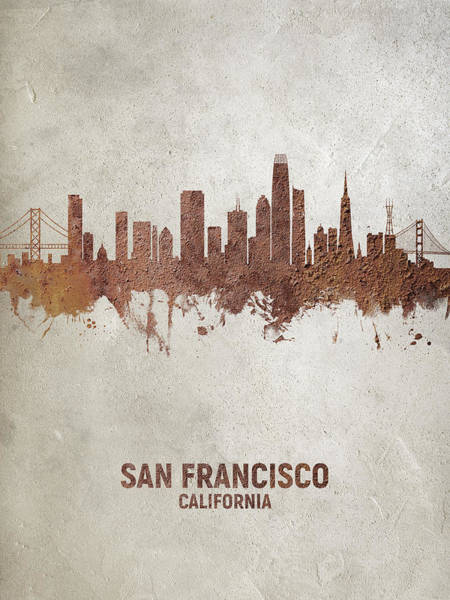 Wall Art - Digital Art - San Francisco California Rust Skyline by Michael Tompsett