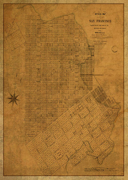 Wall Art - Mixed Media - San Francisco California Vintage City Street Map 1849 by Design Turnpike