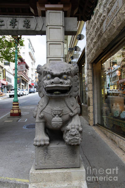 Photograph - San Francisco Chinatown Dragon Gate Guardian Lion R405 by Wingsdomain Art and Photography