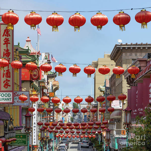 Wall Art - Photograph - San Francisco Chinatown Lanterns R428 Sq by Wingsdomain Art and Photography