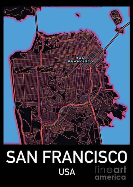 Digital Art - San Francisco City Map by Helge