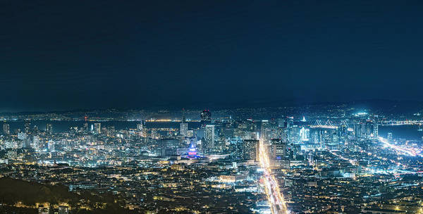 Fire Place Photograph - San Francisco Cityscape At Night by Chinaface