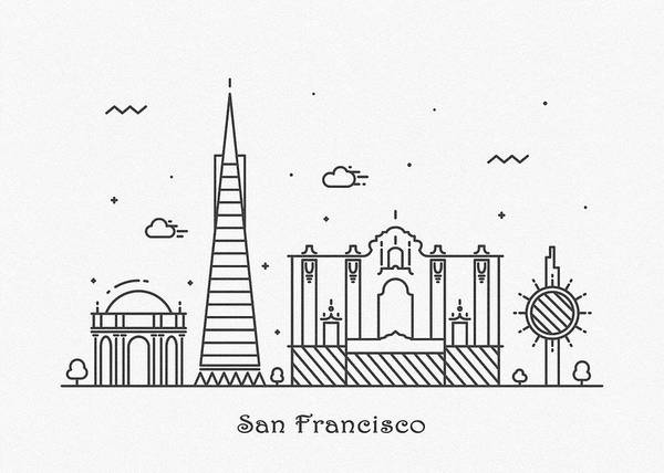 Drawing - San Francisco Cityscape Travel Poster by Inspirowl Design