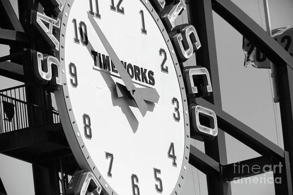 Photograph - San Francisco Giants Baseball Scoreboard And Clock 5d28233 Bw by Wingsdomain Art and Photography
