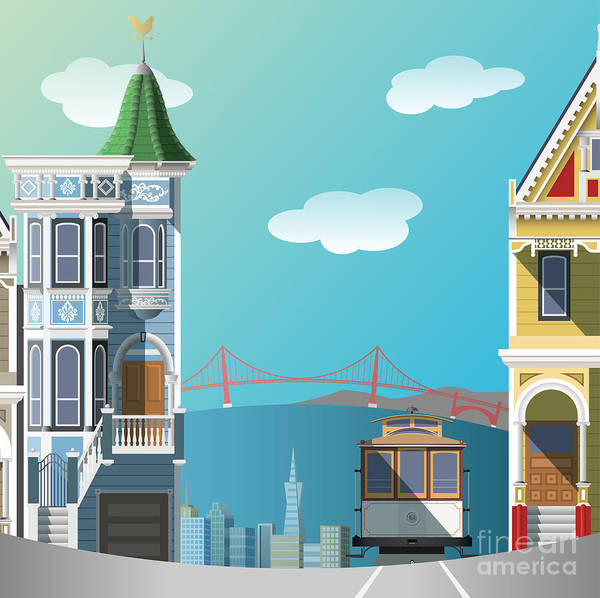 Tram Wall Art - Digital Art - San Francisco Landscape by Nikola Knezevic