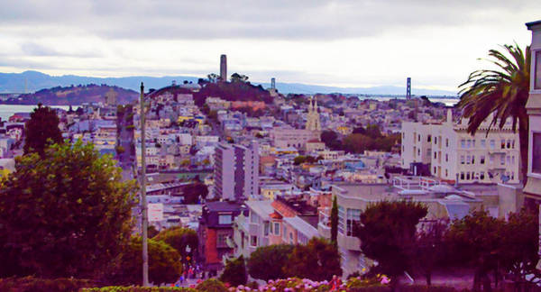 Wall Art - Painting - San Francisco Lombard Street View - Rendoring by Bill Cannon