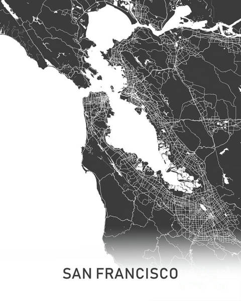 Wall Art - Photograph - San Francisco Map Black And White by Delphimages Photo Creations