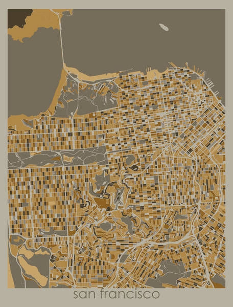 Wall Art - Digital Art - San Francisco Map Retro 4 by Bekim M