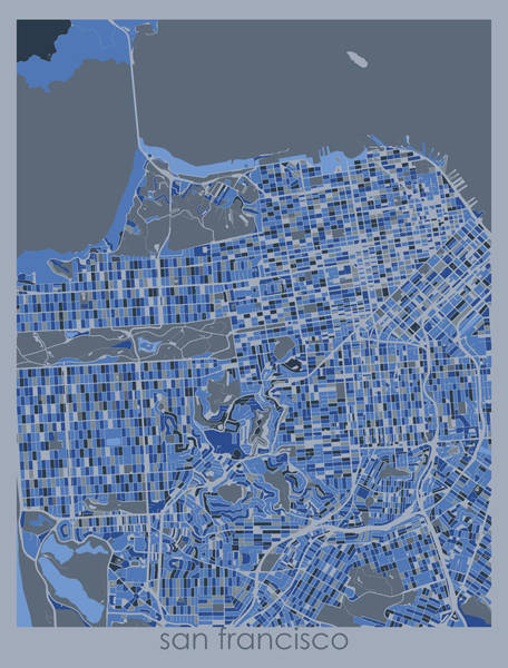 Wall Art - Digital Art - San Francisco Map Retro 5 by Bekim M
