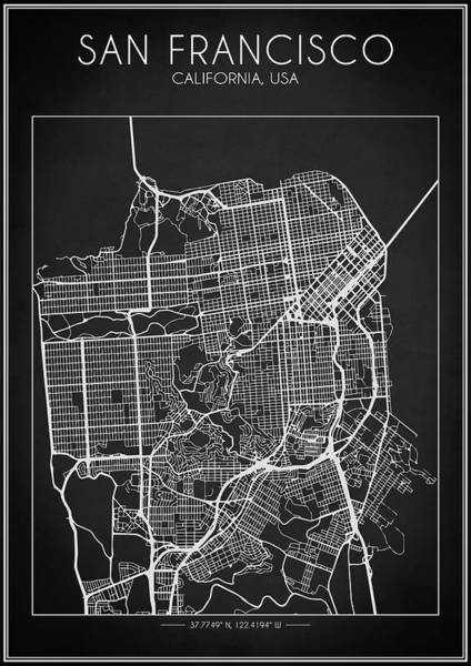 Digital Art - San Francisco Map by Zapista Zapista