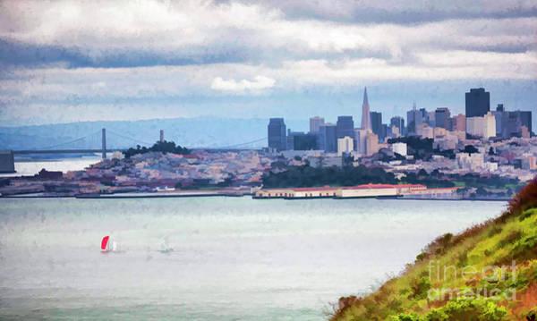 West Bay Digital Art - San Francisco Panorama View  by Chuck Kuhn