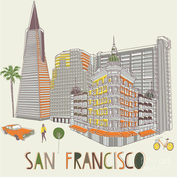 Wall Art - Digital Art - San Francisco Print Design by Lavandaart