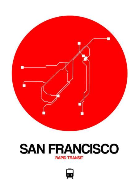 Subway Map Wall Art - Digital Art - San Francisco Red Subway Map by Naxart Studio