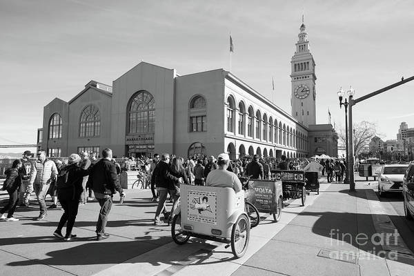 Photograph - San Francisco Rickshaw Pedicab Brigade At The Ferry Building  On The Embarcadero Dsc6764bw by Wingsdomain Art and Photography