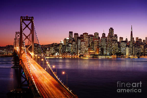 San Francisco Bridge Wall Art - Photograph - San Francisco Skyline And Bay Bridge At by Im photo