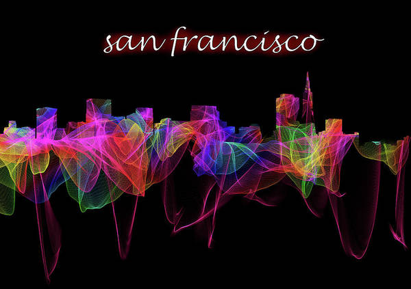 Photograph - San Francisco Skyline Art With Script by Debra and Dave Vanderlaan