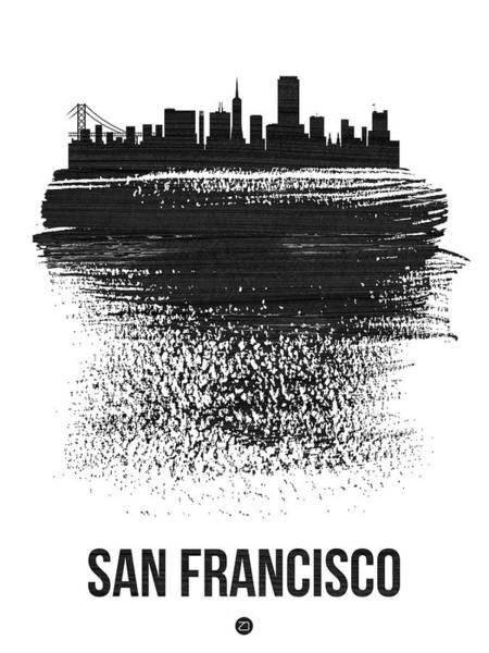 Country Mixed Media - San Francisco Skyline Brush Stroke Black by Naxart Studio