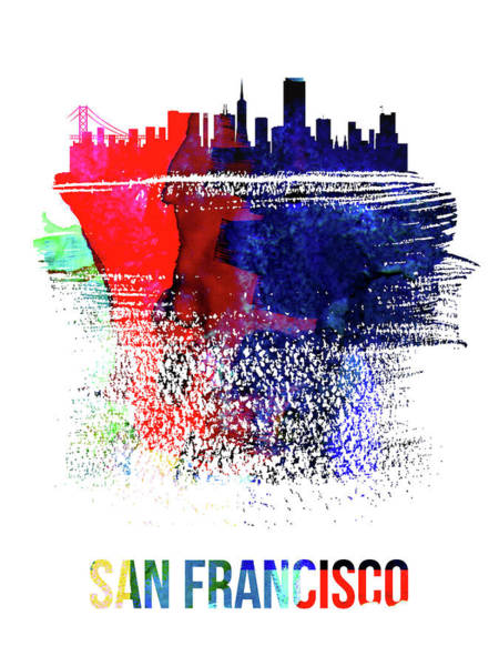 Country Mixed Media - San Francisco Skyline Brush Stroke Watercolor   by Naxart Studio