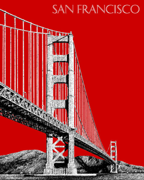 Wall Art - Digital Art - San Francisco Skyline Golden Gate Bridge 2 - Slate Blue by DB Artist