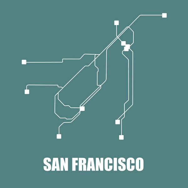 Wall Art - Digital Art - San Francisco Teal Subway Map by Naxart Studio